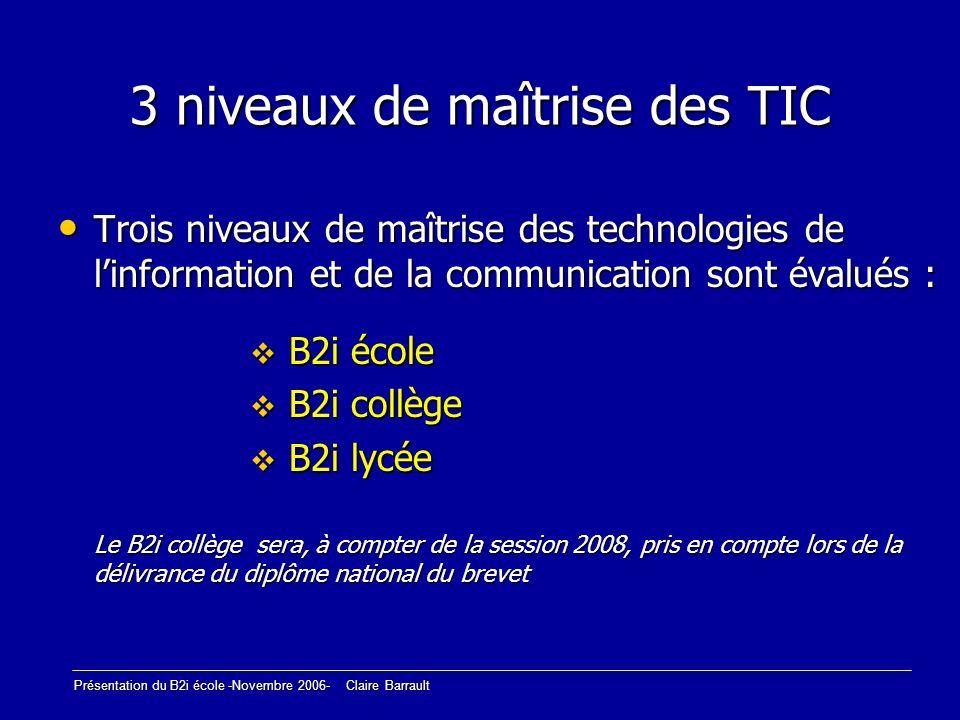 3 niveaux de maîtrise des TIC