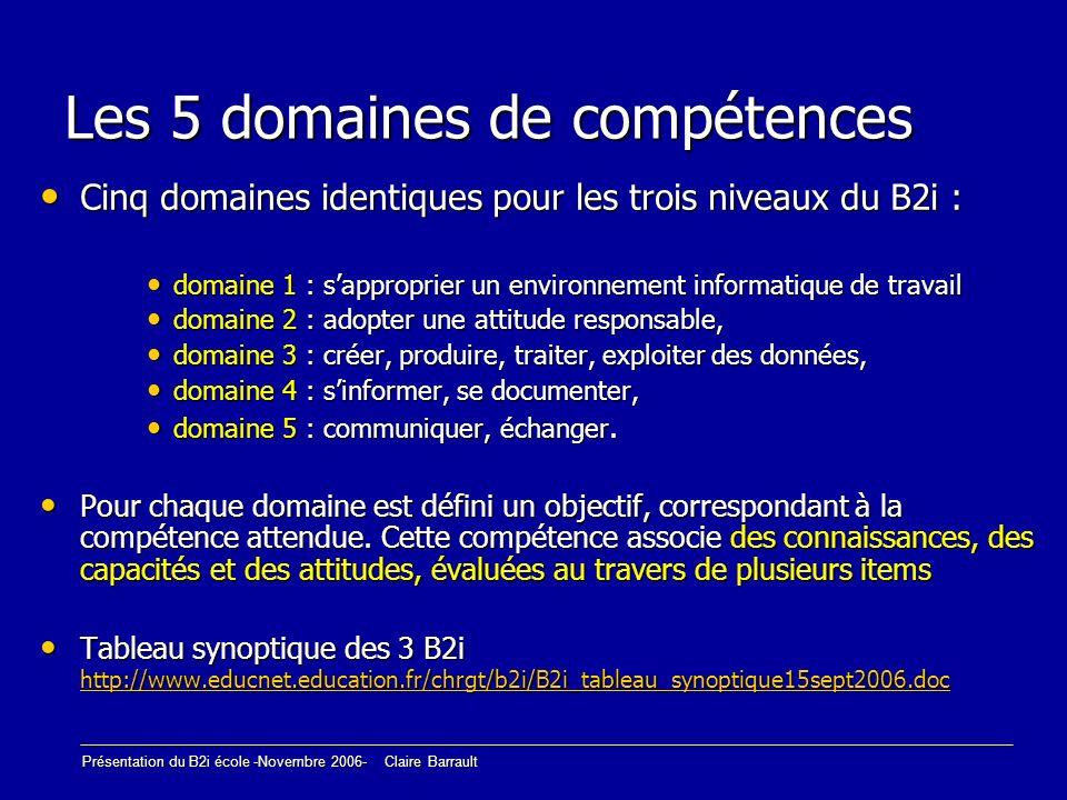 Les 5 domaines de compétences