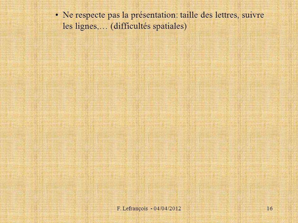 Ne respecte pas la présentation: taille des lettres, suivre les lignes,… (difficultés spatiales)