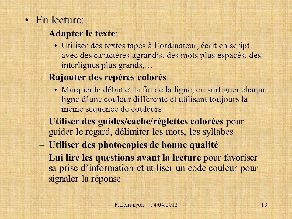 En lecture: Adapter le texte: Rajouter des repères colorés