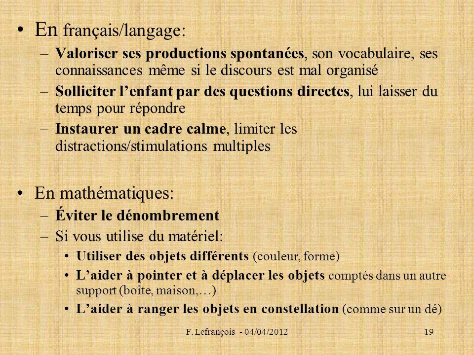 En français/langage: En mathématiques: