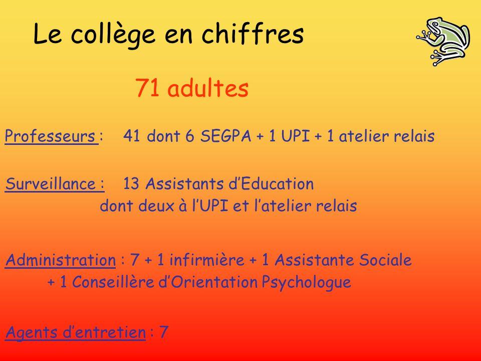 Le collège en chiffres 71 adultes