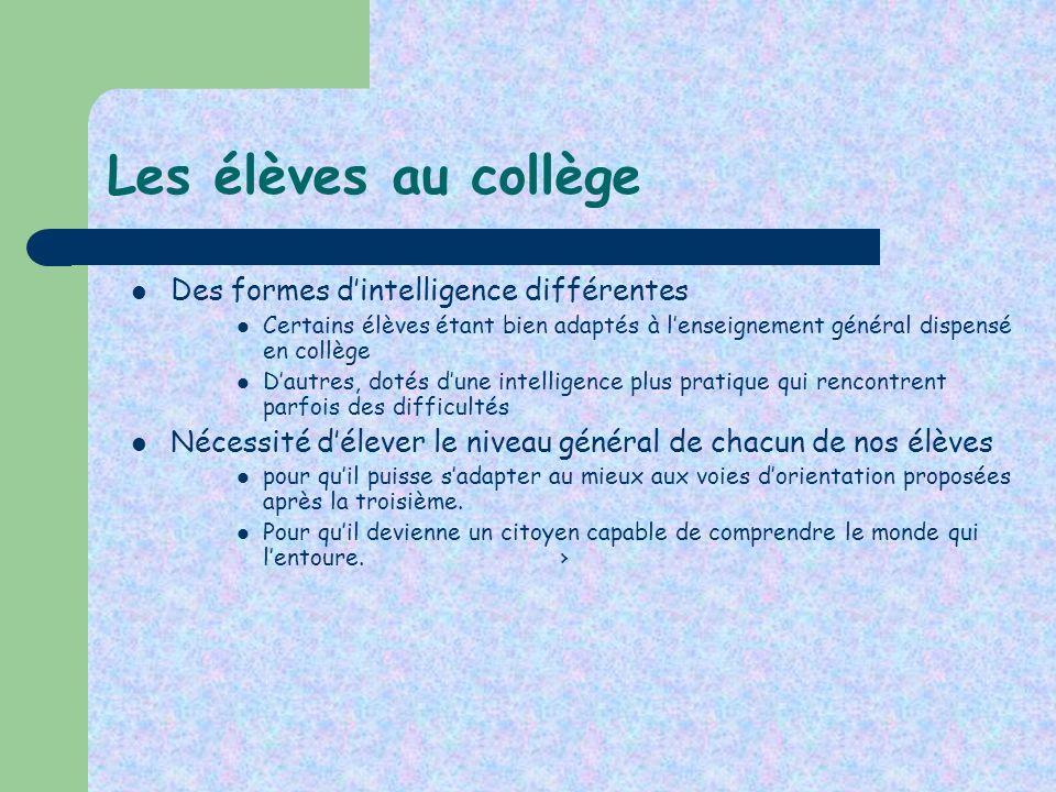 Les élèves au collège Des formes d'intelligence différentes