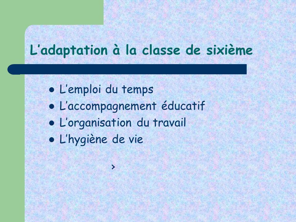 L'adaptation à la classe de sixième