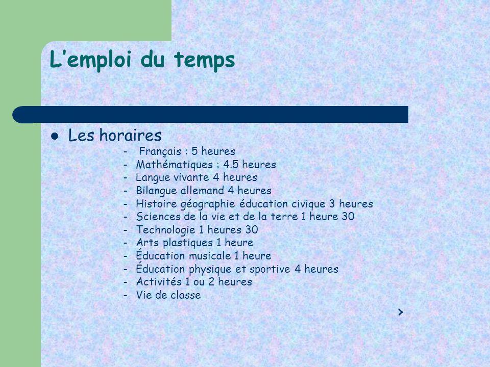 L'emploi du temps Les horaires › Français : 5 heures