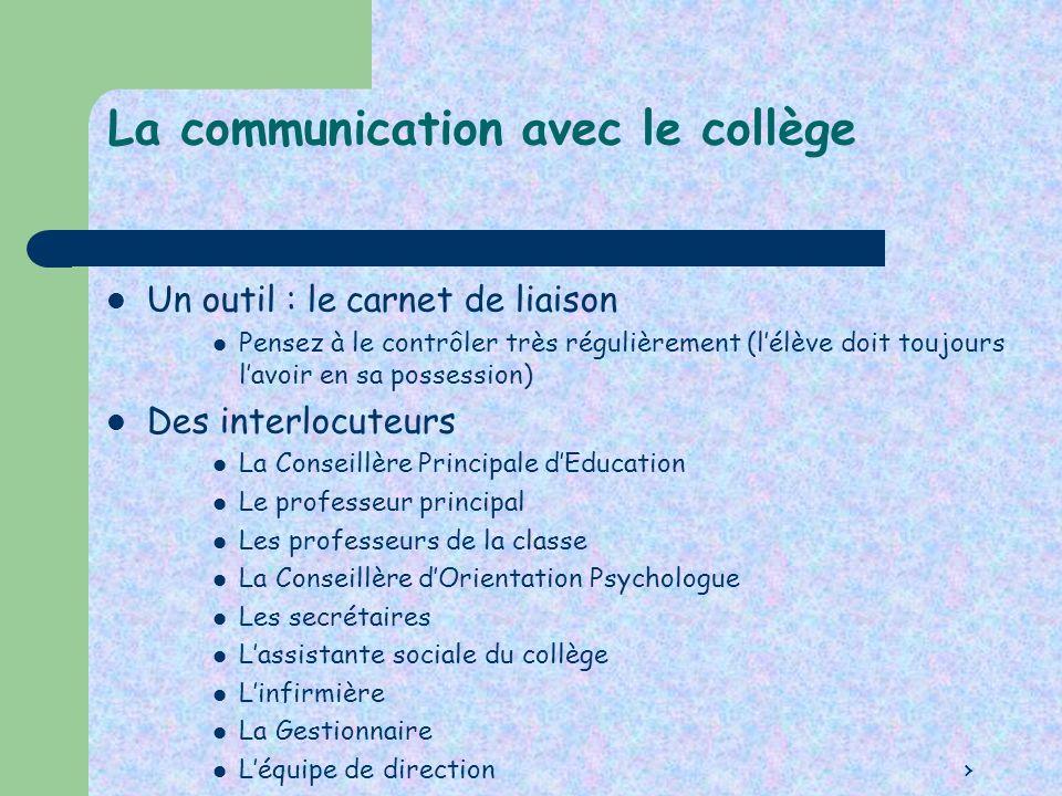 La communication avec le collège