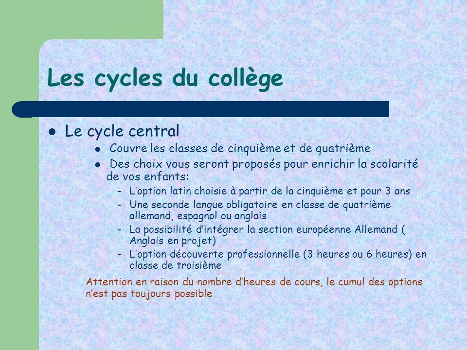 Les cycles du collège Le cycle central