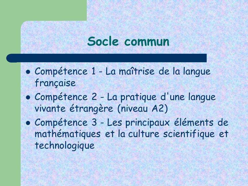 Socle commun Compétence 1 - La maîtrise de la langue française