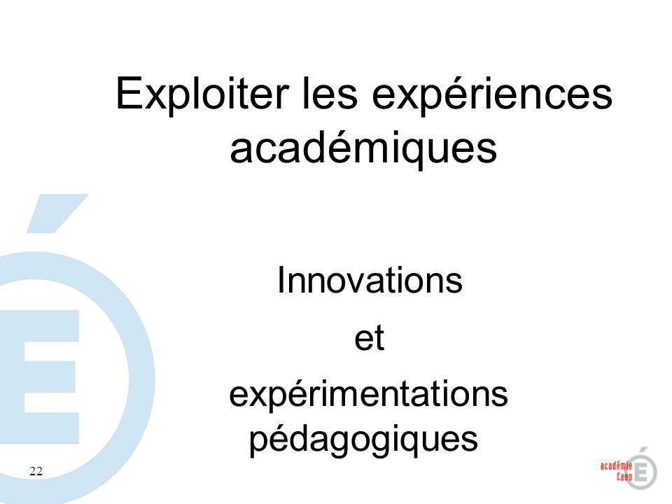 Exploiter les expériences académiques
