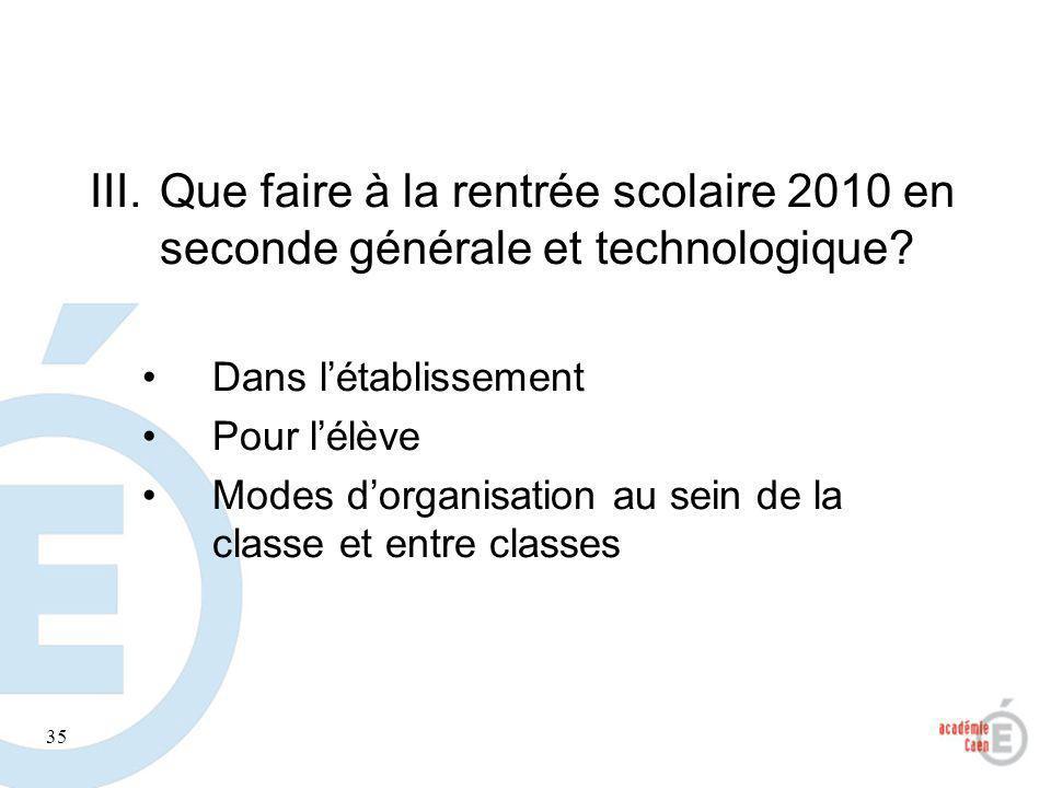 Que faire à la rentrée scolaire 2010 en seconde générale et technologique