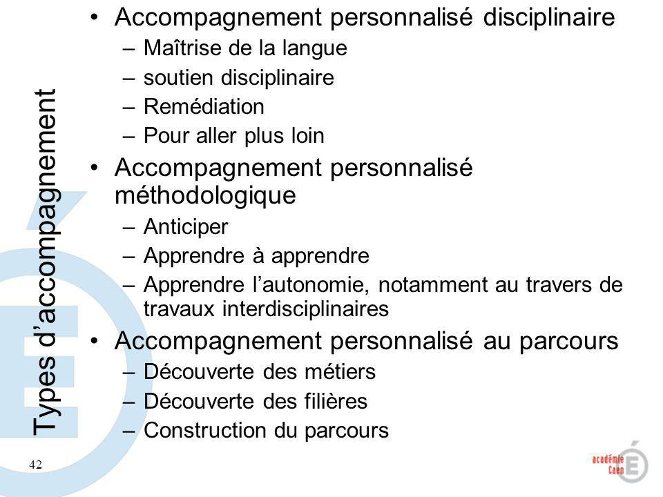 Types d'accompagnement