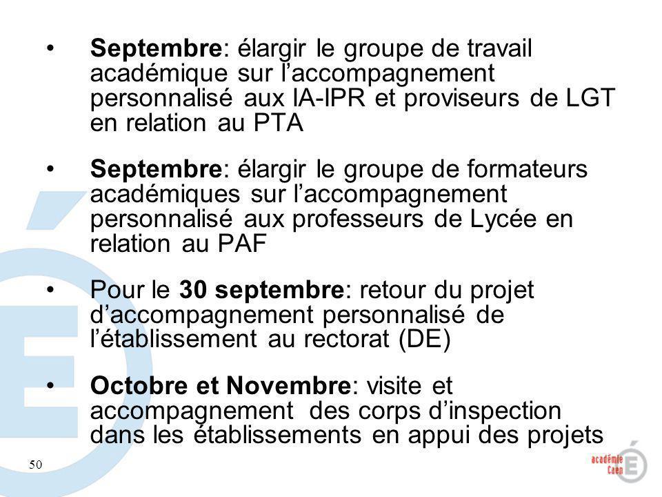 Septembre: élargir le groupe de travail académique sur l'accompagnement personnalisé aux IA-IPR et proviseurs de LGT en relation au PTA