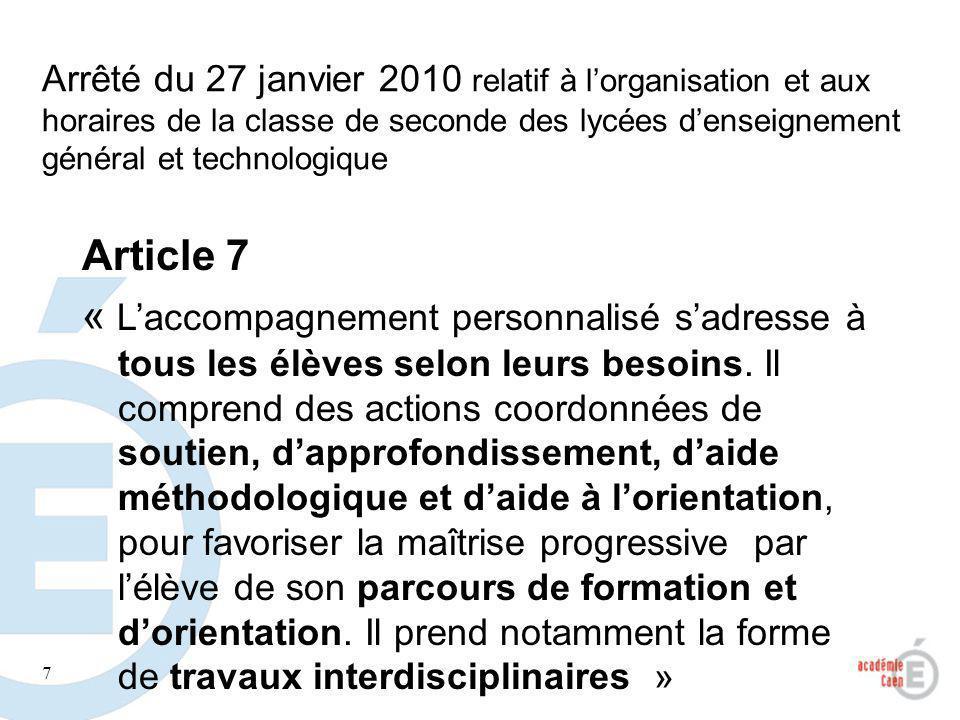 Arrêté du 27 janvier 2010 relatif à l'organisation et aux horaires de la classe de seconde des lycées d'enseignement général et technologique
