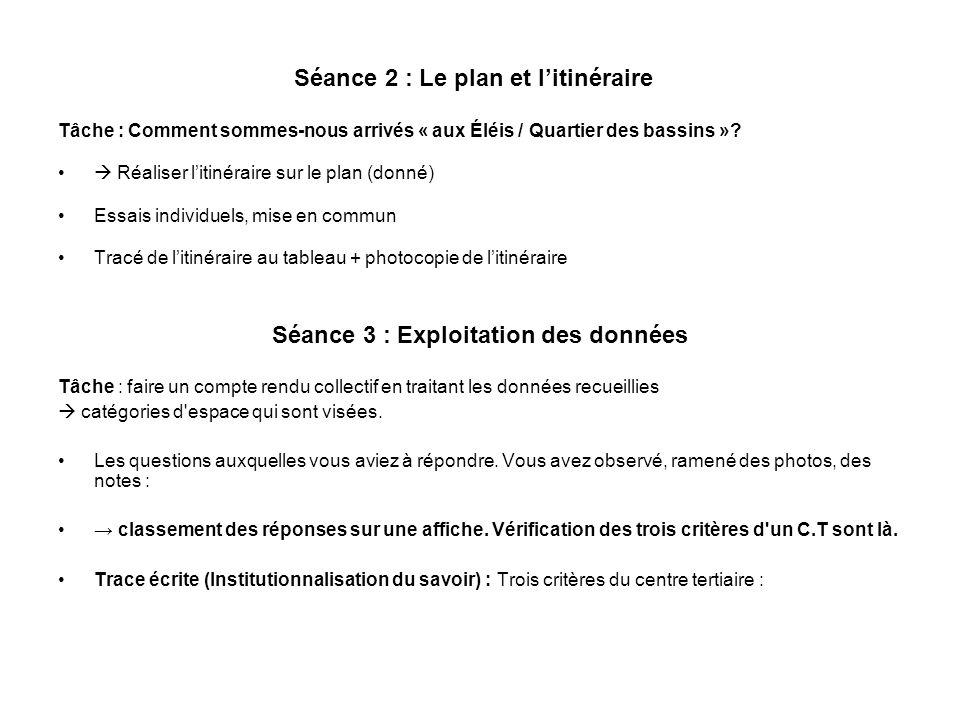 Séance 2 : Le plan et l'itinéraire
