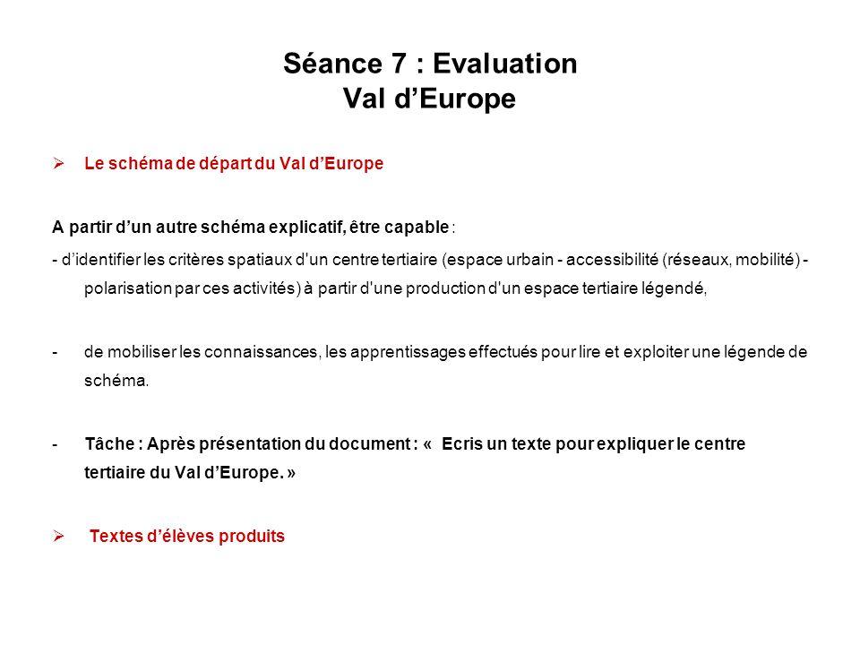 Séance 7 : Evaluation Val d'Europe