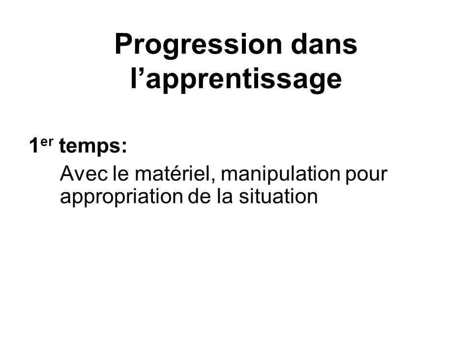 Progression dans l'apprentissage