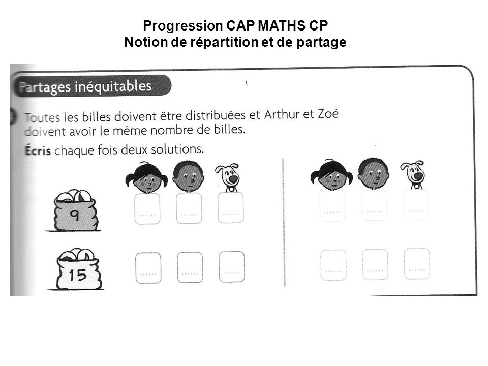 Progression CAP MATHS CP Notion de répartition et de partage