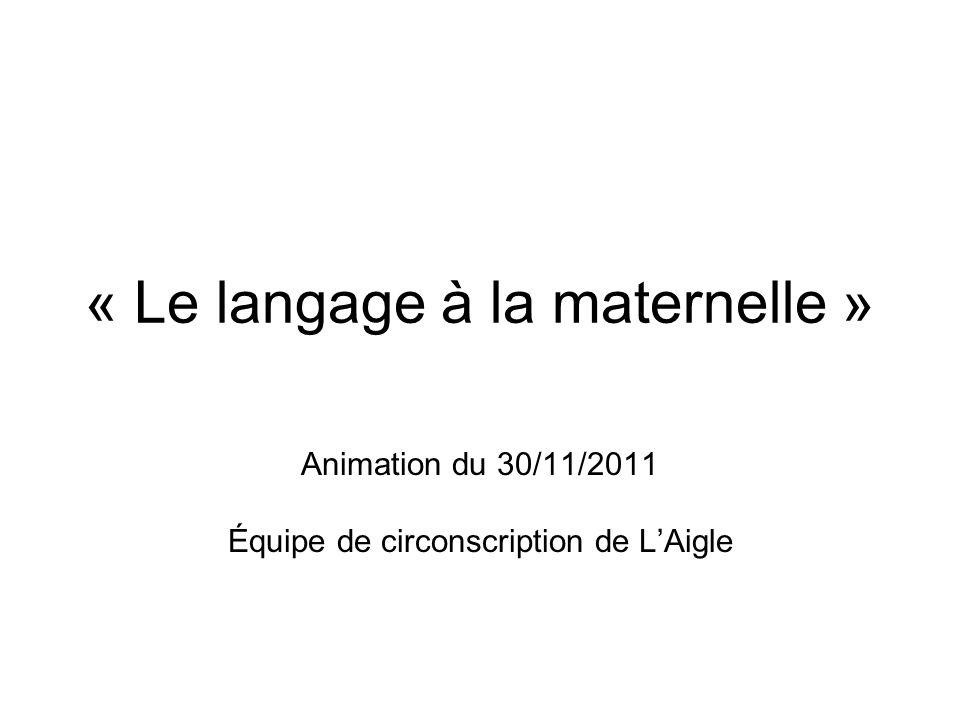 « Le langage à la maternelle »