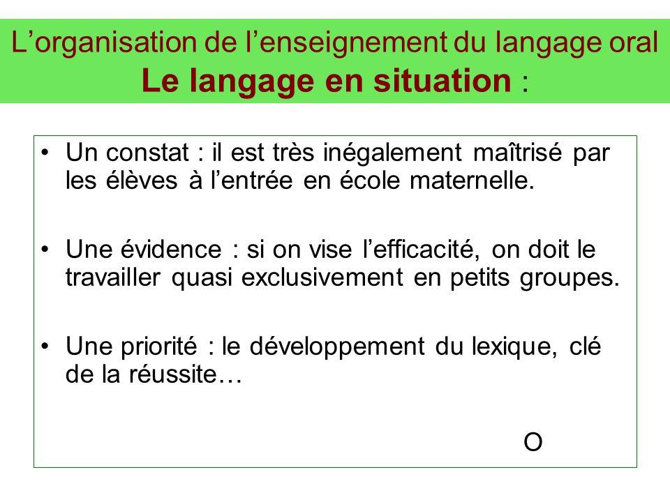 L'organisation de l'enseignement du langage oral Le langage en situation :