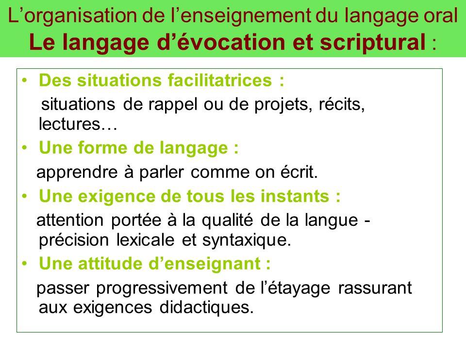 L'organisation de l'enseignement du langage oral Le langage d'évocation et scriptural :