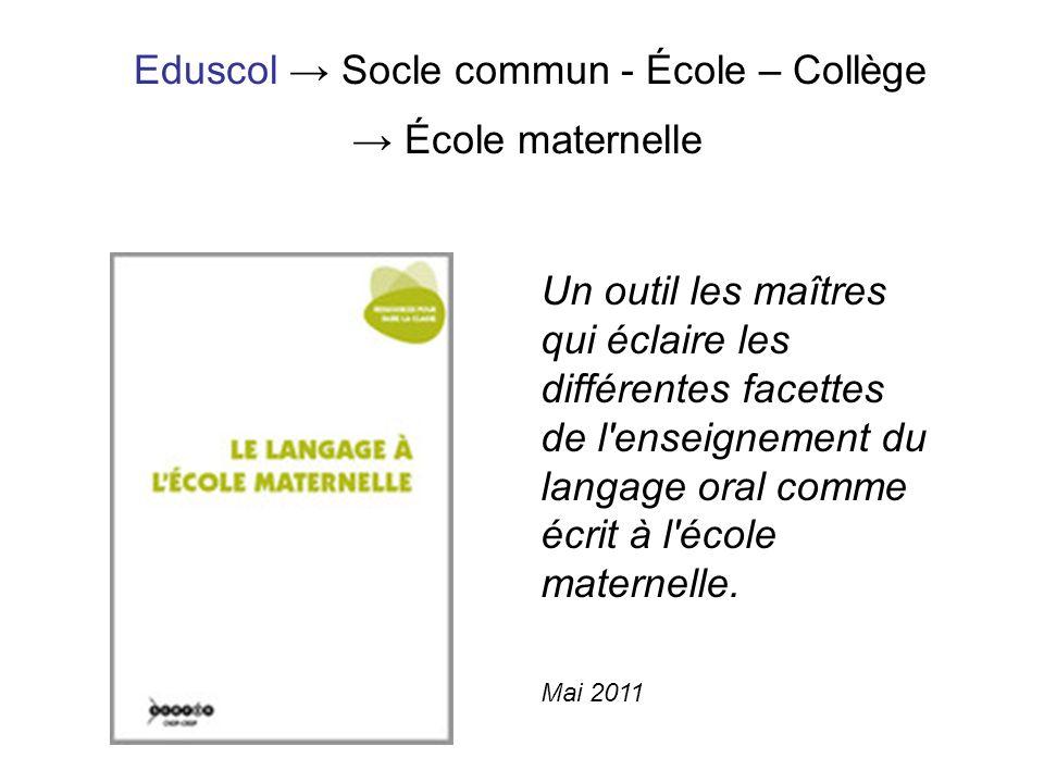 Eduscol → Socle commun - École – Collège → École maternelle
