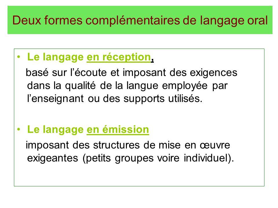 Deux formes complémentaires de langage oral