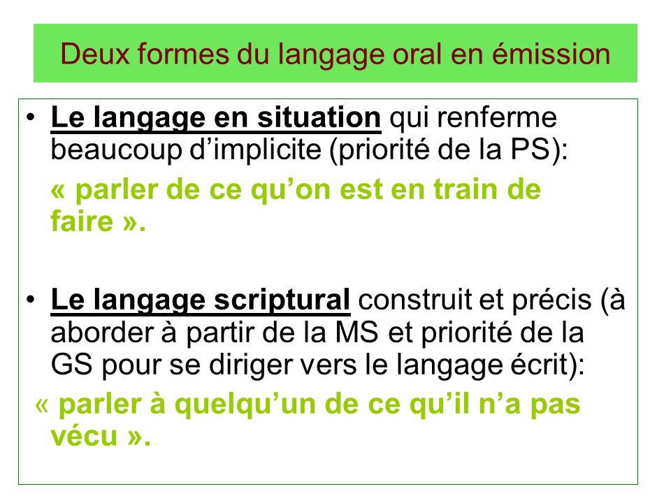 Deux formes du langage oral en émission