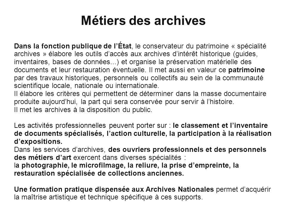Métiers des archives