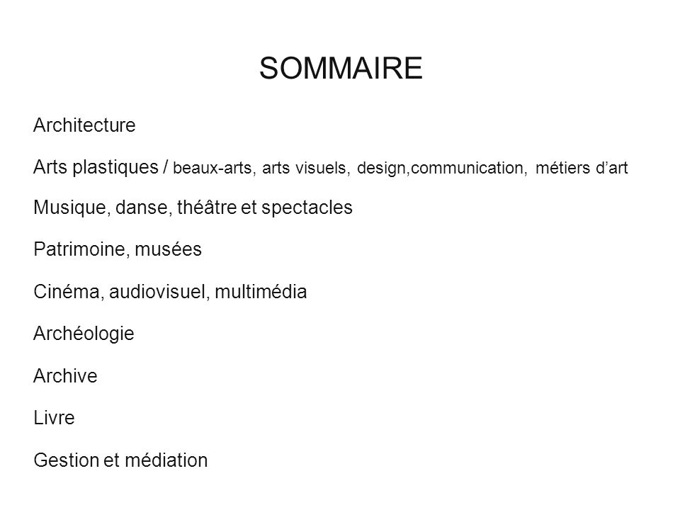 SOMMAIRE Architecture