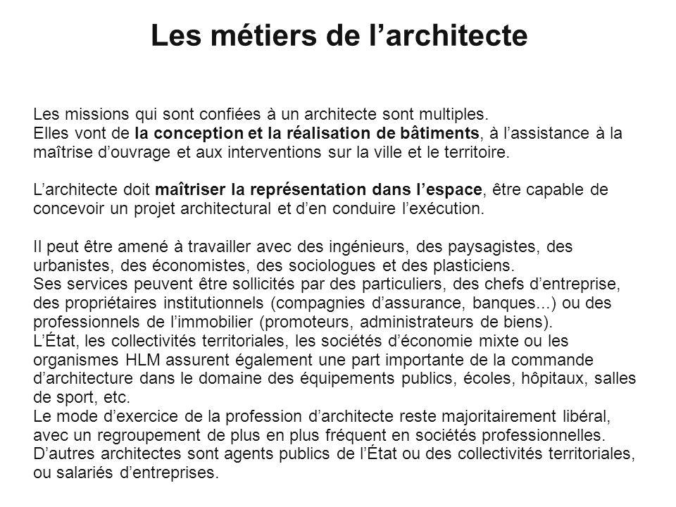 Les métiers de l'architecte