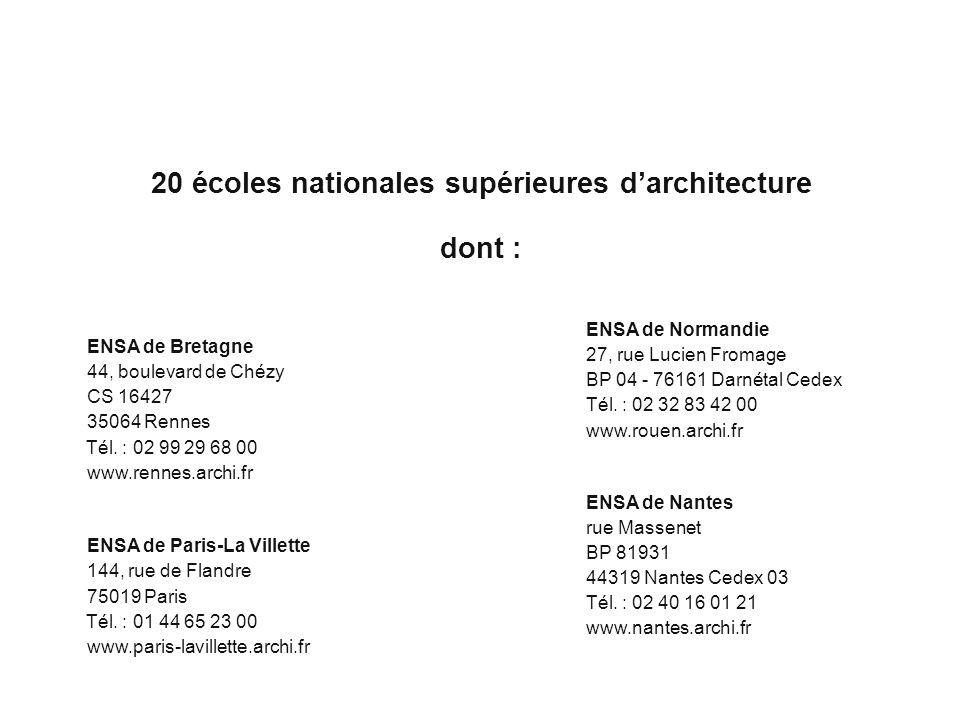 20 écoles nationales supérieures d'architecture