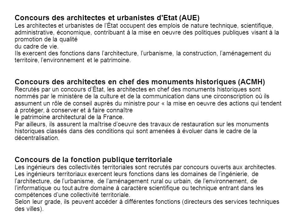 Concours des architectes et urbanistes d Etat (AUE)