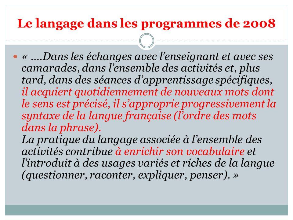 Le langage dans les programmes de 2008