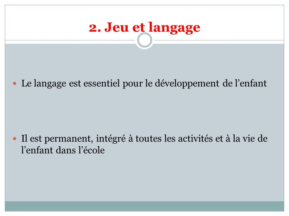 2. Jeu et langage Le langage est essentiel pour le développement de l'enfant.