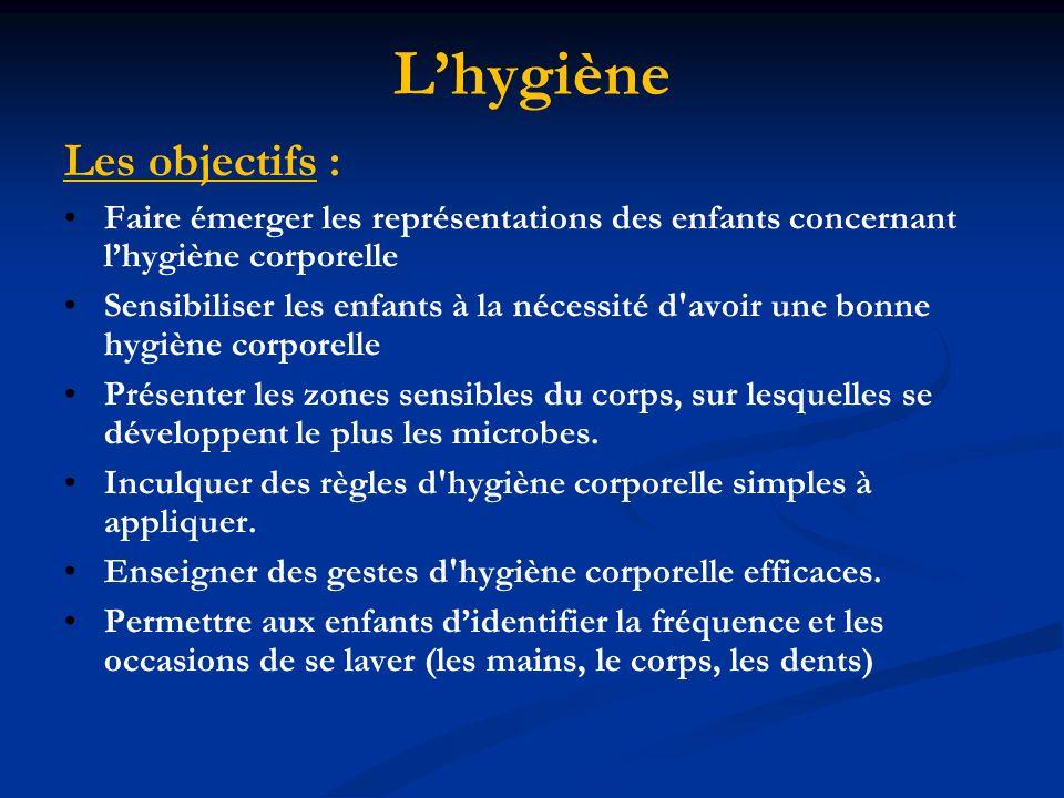 L'hygiène Les objectifs :