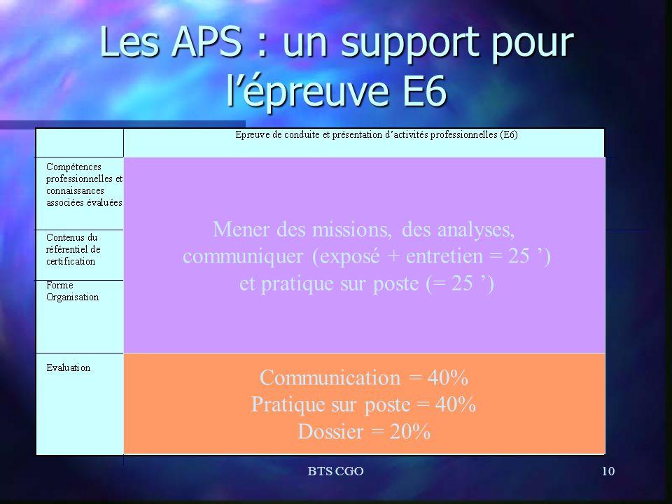 Les APS : un support pour l'épreuve E6