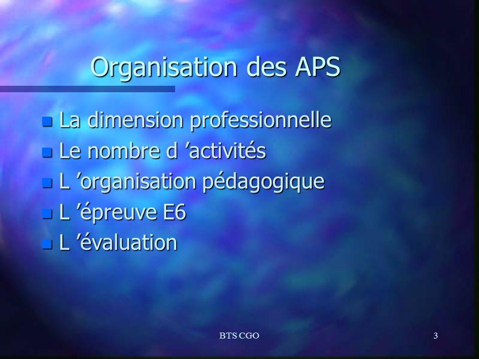 Organisation des APS La dimension professionnelle