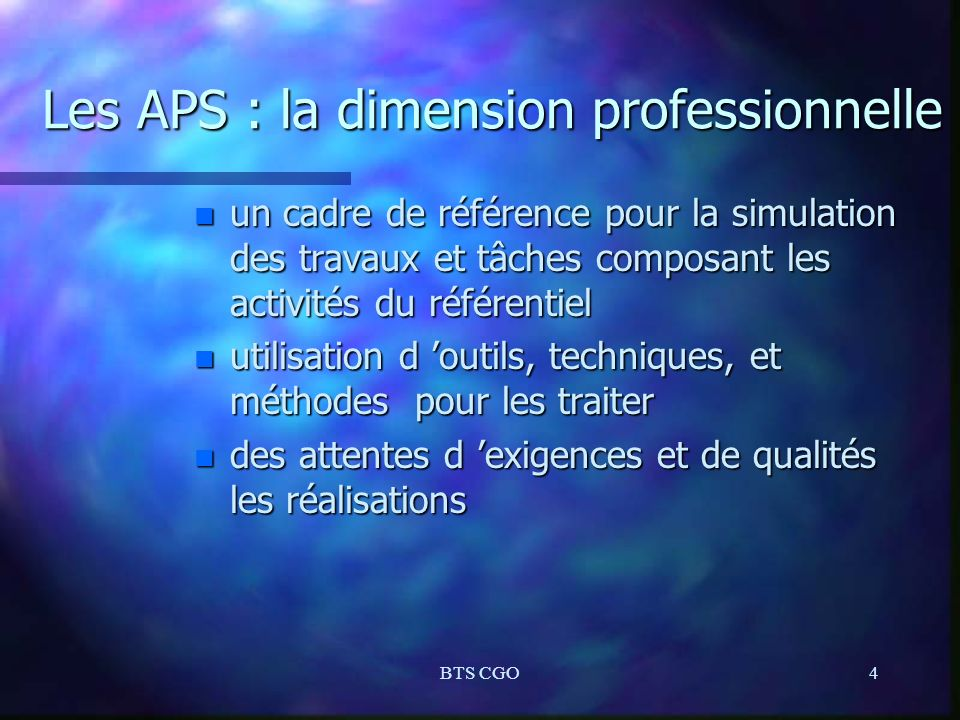Les APS : la dimension professionnelle