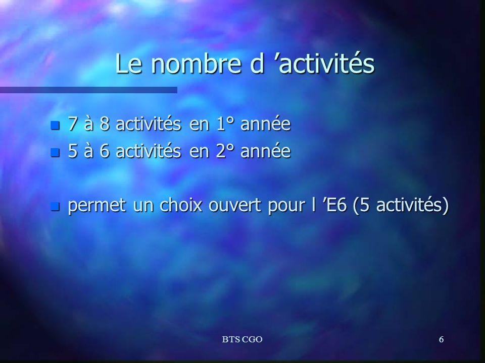 Le nombre d 'activités 7 à 8 activités en 1° année