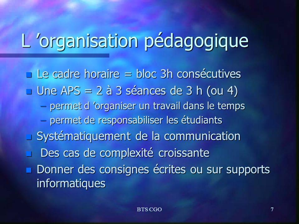 L 'organisation pédagogique