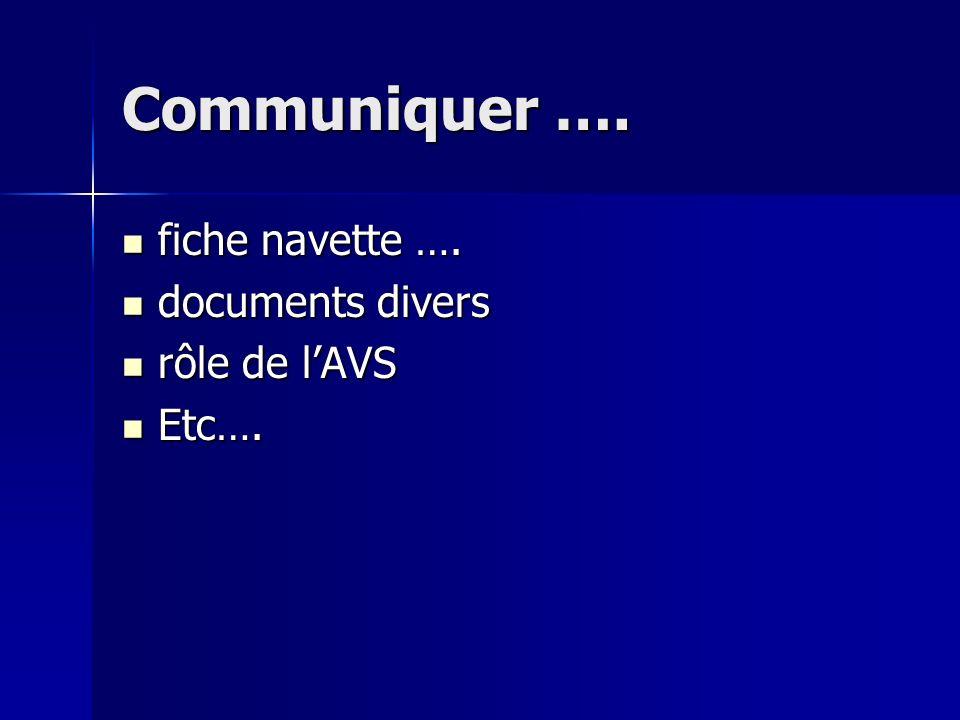 Communiquer …. fiche navette …. documents divers rôle de l'AVS Etc….