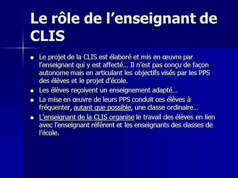Le rôle de l'enseignant de CLIS