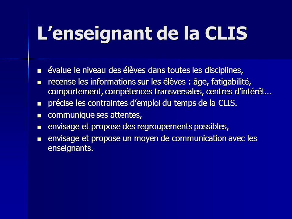 L'enseignant de la CLIS