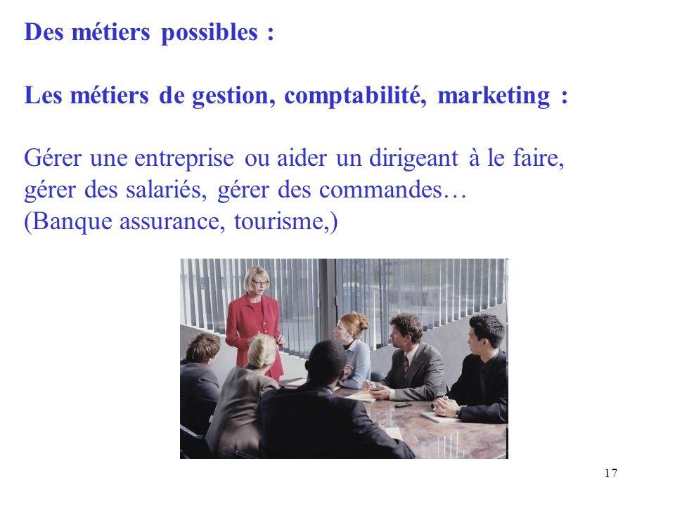Des métiers possibles :