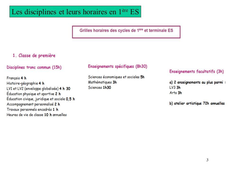 Les disciplines et leurs horaires en 1ère ES