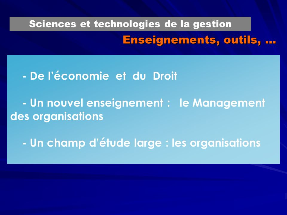 Enseignements, outils, …