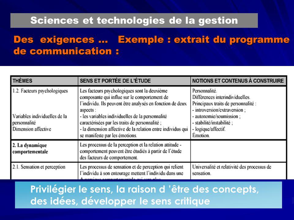 Des exigences … Exemple : extrait du programme de communication :