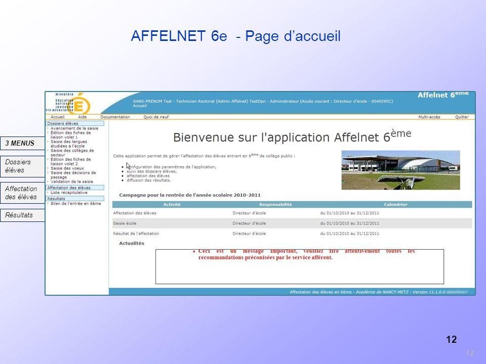 AFFELNET 6e - Page d'accueil