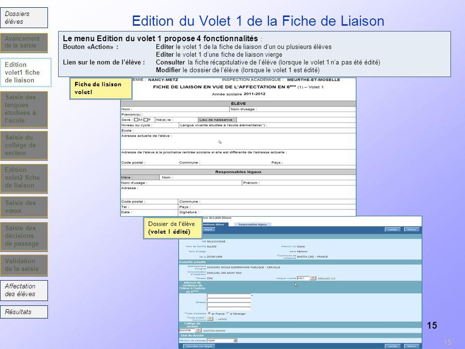 Edition du Volet 1 de la Fiche de Liaison