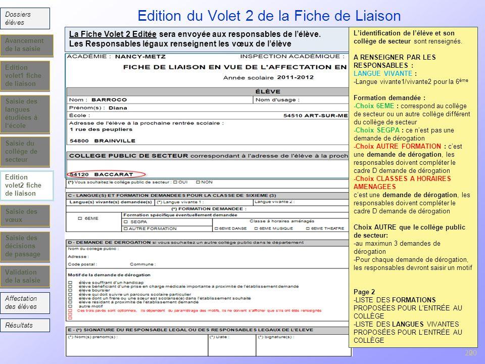 Edition du Volet 2 de la Fiche de Liaison